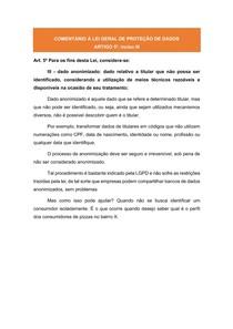 COMENTÁRIOS À LGPD: ARTIGO 5º, inciso III