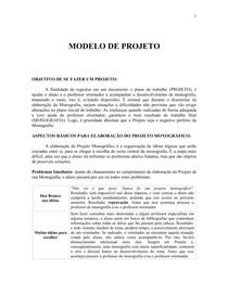 METODOLOGIA: ELABORAÇÃO DA PESQUISA CIENTIFICA MODELO DE PROJETO DE MONOGRAFIA