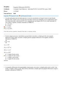 Equações Diferenciais (MAT26) - Avaliação 3 - Prova Objetiva Flex - 11352642 - Uniasselvi - Aplicada em 21/05/19