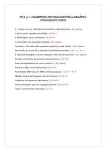 APOL 2 - FUNDAMENTOS E METODOLOGIAS PARA AQUISIÇÃO DO CONHECIMENTO LÓGICO