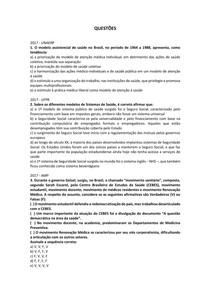 Histórico da saúde no Brasil - Questões resolvidas