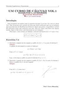 RESOLUÇÕES DE EXERCÍCIOS SEÇÃO 7.4 LIVRO DO GUIDORIZZI