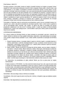Resumo - Émile Durkheim - Sociologia Geral