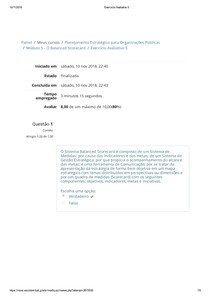PLANEJAMENTO ESTRATÉGICO PARA ORGANIZAÇÕES PÚBLICAS Exercício Avaliativo 5