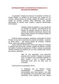 CONTRATO DE TRABALHO E RELAÇÃO DE EMPREGO