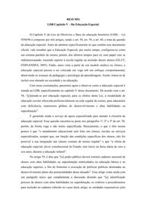 Resumo - LDB Capítulo V Da Educação Especial