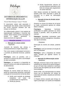 DISTÚRBIOS DE CRESCIMENTO E DIFERENCIAÇÃO CELULAR