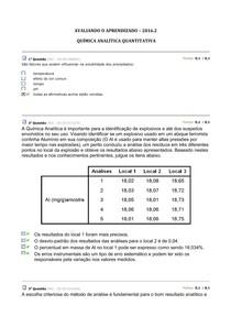 Avaliando o Aprendizado - Química Analítica Quantitativa