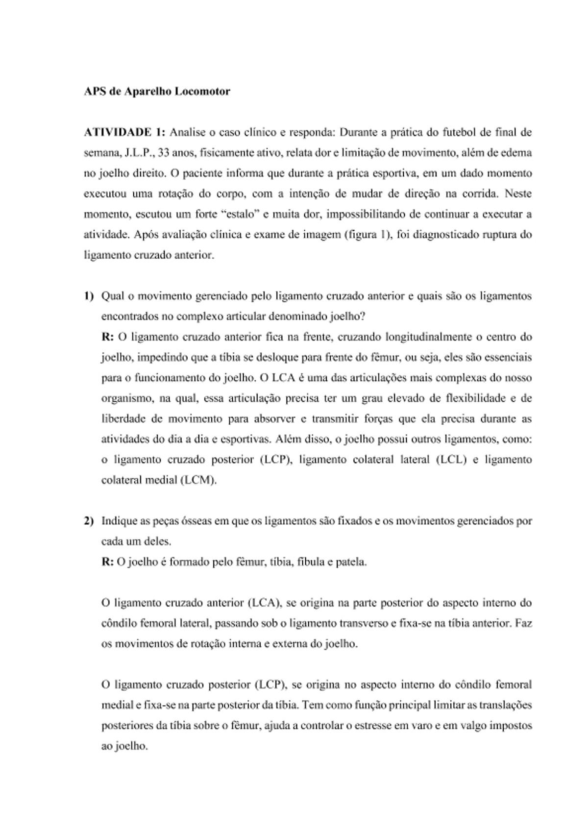 Pre-visualização do material APS de Aparelho Locomotor - Estudo de Caso - página 1