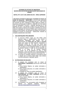 Edital Concurso SEDUC-AM 2014 (Banca: FGV)