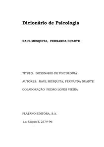 Dicionário de Psicologia - RAÚL MESQUITA, FERNANDA DUARTE