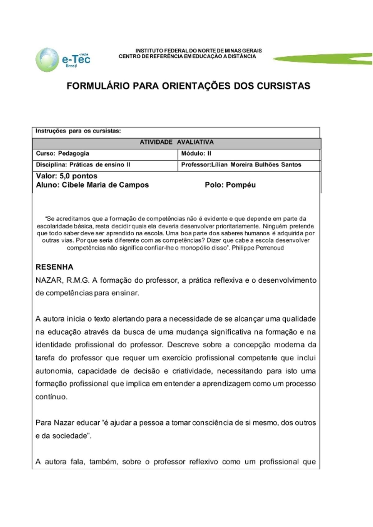 Pre-visualização do material Atividade Avaliativa 1     resenha - página 1