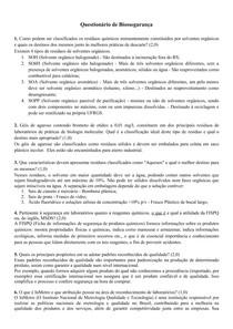 Questionário de Biossegurança - Descarte de resíduos, organismos de certificação de qualidade, BPL