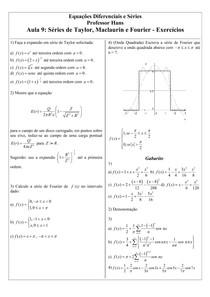 Aula 9 - Séries de Taylor, Maclaurin e Fourier - Exercícios