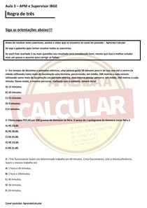 IBGE AULA 3 APM E SUPERVISOR, CONCURSO IBGE 2021 (Regra de 3 )#EXCLUSIVOPD