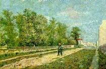 Vincent Willem van Gogh-Periferia-de-Paris-Road-com-Camponesa assumindo-a-Spade