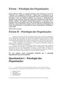 Fórum I e II Psicologia das Organizações