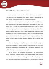 Leitura em Espanhol: Familiares