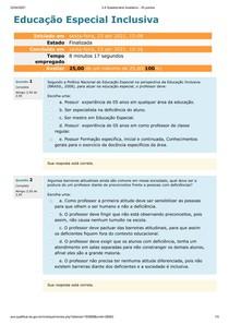 Questionário 3- Educação Especial Inclusiva - AVA