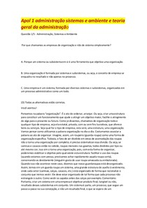 Apol 1 administração sistemas e ambiente e teoria geral da administração