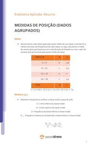 Cálculo das medidas de posição: dados agrupados - Resumo