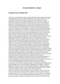TÍTULOS DE CRÉDITO CHEQUE