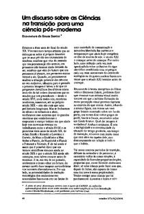 BOAVENTURA, 1988 Um discurso sobre as ciências na transição para uma ciência pós moderna