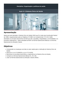 Aula 5 O Sistema Único de Saúde