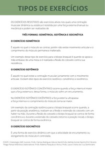 TIPOS DE EXERCÍCIOS ISOMÉTRICA, ISOTÔNICA E ISOCINÉTICA