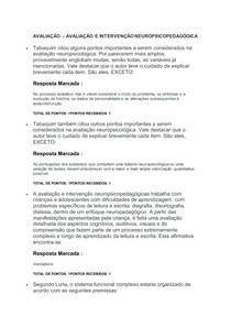 AVALIAÇÃO AVALIAÇÃO E INTERVENÇÃO NEUROPSICOPEDAGÓGICA
