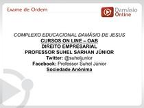CCJ0026-WL-O-LC-Direito Empresarial I - Aula 03 - Simulados - Suhel Junior