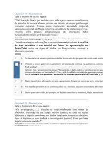 APOL BIOESTATISTICA EDUCAÇÃO FISICA UNINTER