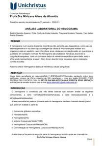 ANÁLISE LABORATORIAL DO HEMOGRAMA