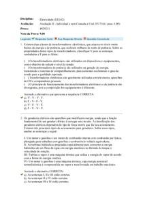 Avaliação 2 Objetiva - Uniasselvi - Prova 4929211- Disciplina - Eletricidade (EEL02) - Aplicada em 17/10/2016