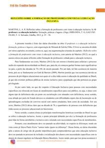 REFLEXÕES SOBRE A FORMAÇÃO DE PROFESSORES COM VISTAS À EDUCAÇÃO INCLUSIVA