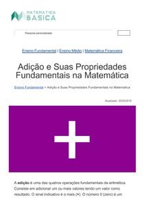 Adição e Suas Propriedades Fundamentais na Matemática - Matemática Básica