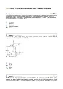 AV1 e AV2 de PRINCÍPIOS DA CIÊNCIA E TECNOLOGIA DOS MATERIAIS