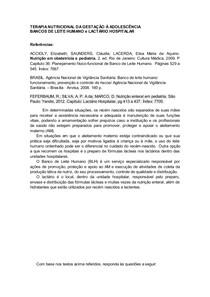 BANCOS DE LEITE HUMANO e LACTÁRIO HOSPITALAR