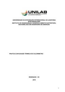 Relatorio de quimica aula PRATICA-CAPACIDADE TÉRMICA DO CALORIMETRO