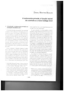 A autonomia privada e a função social do contrato