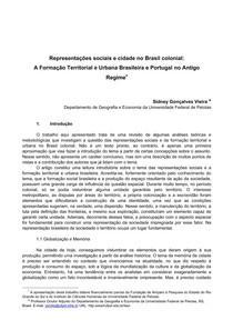 Hist Arq   texto 01a   Representações sociais e cidade no Brasil colonial