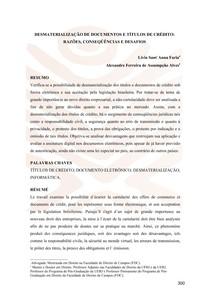 alexandre_ferreira_de_assumpcao_artigo_DesmaterializacaoTituloCredito