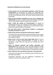 Questionário Metabolismo Aminoácidos - Bioquimica