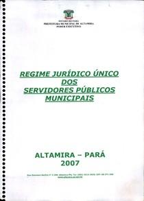 REGIME JURIDICO DOS SERVIDORES PREFEITURA MUNICIPAL DE ALTAMIRA PMA