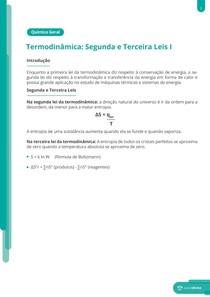 Termodinâmica: entropia e energia livre - Resumo
