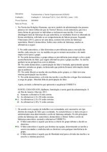 avaliação 2 fundamentos e teoria organizacional