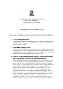 ESTUDO DIRIGIDO - TERMODINÂMICA E BIOELETROGÊNESE