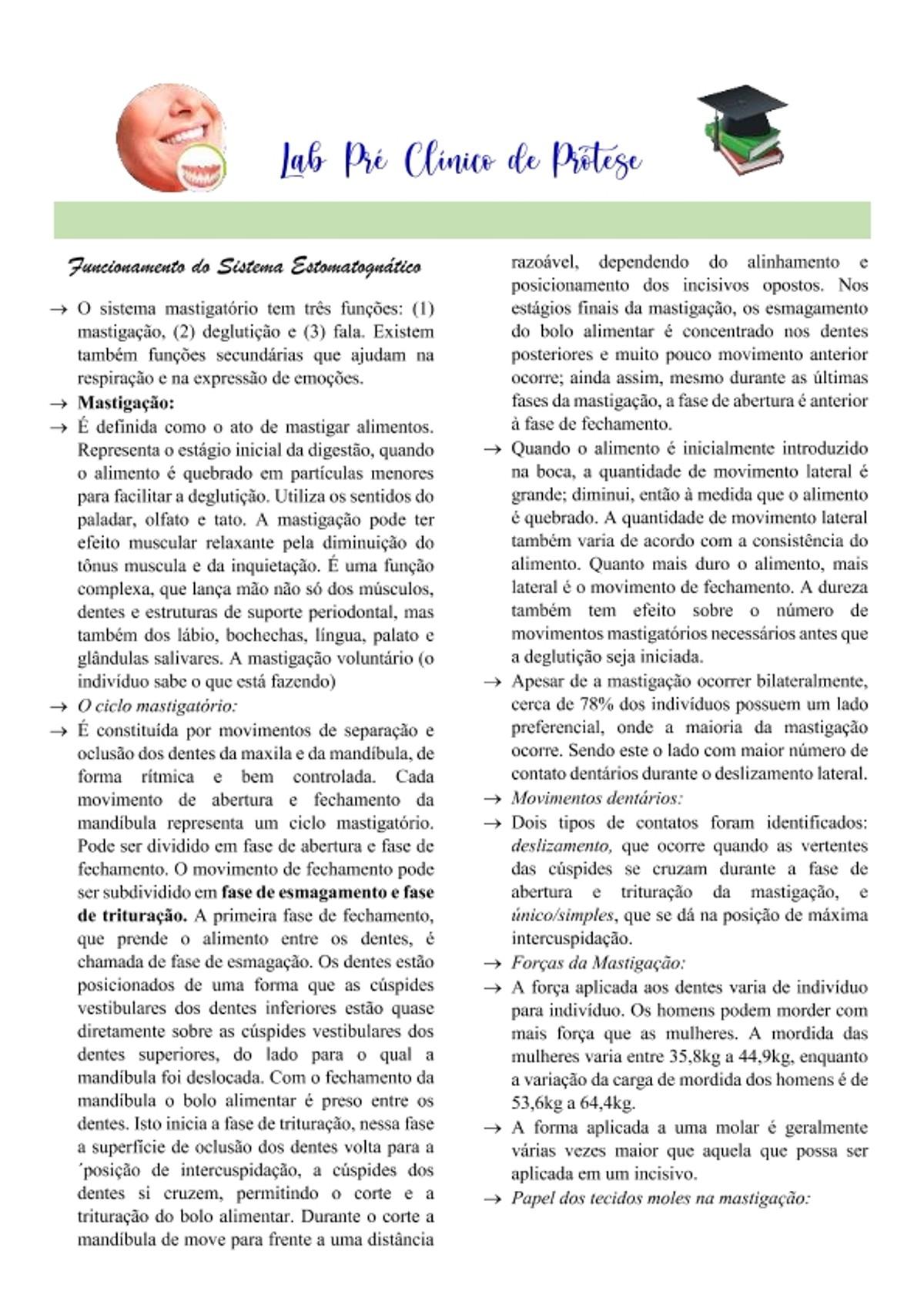 Pre-visualização do material Sistema estomatognático - página 1