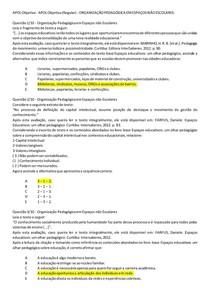 APOL Objetiva - ORGANIZAÇÃO PEDAGÓGICA EM ESPAÇOS NÃO ESCOLARES