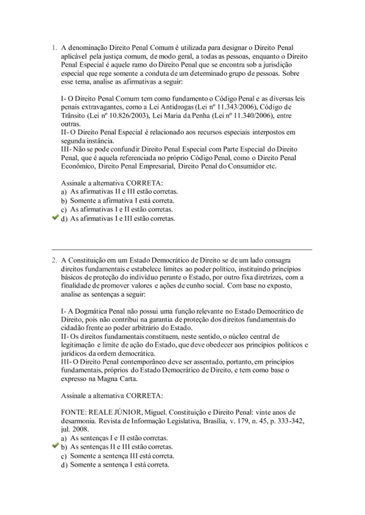Pre-visualização do material prova direito penal Uniasselvi - página 1